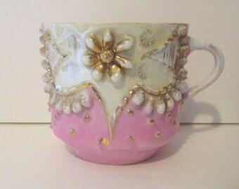Vintage German Pink Lusterware Mug High Relief Gold Trim