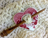 Shawl Pin, Heart, Red Toile, Broken China, Turned Hardwood Stick, One of a Kind, Gift for Knitter, Gift under 20