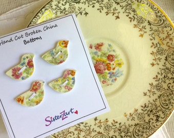 """Buttons, Set of 4, Floral, Bird Buttons, 1"""", Broken China, Sew On, Repurposed, Handmade, Gift, Wedding, B106"""