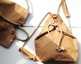Rucksack |  Handbag Ochre canvas with leather details