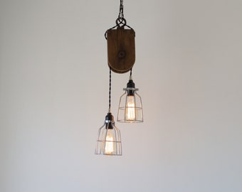 Modern Industrial Block Wood Pulley Light