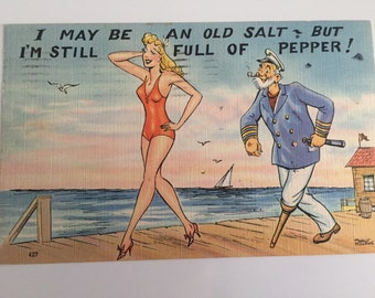 Vintage Pinup and Sailor Carton Postcard/funny postcard