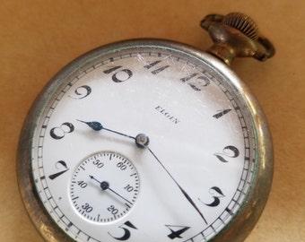 Vintage Elgine 15j gold fill pocket watch Ramona double stock open face