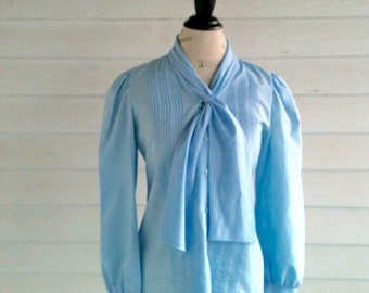 Vintage Blouse - 1970s Baby Blue Sailor Style Secretary Shirt