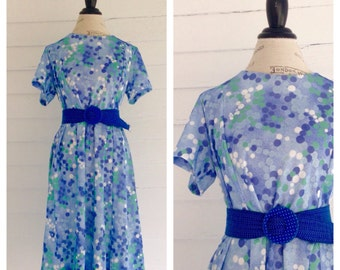 Vintage 1970s Blue and Green DOTTED Retro Dress