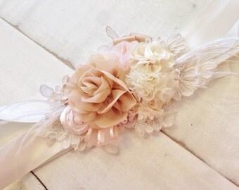 Soft Ivory, Champagne & Blush Bridal Sash, Floral Rosette Sash, Shabby Chic Sash, Bridal Sash, Rustic Sash, Bridal Belt, Vintage Sash