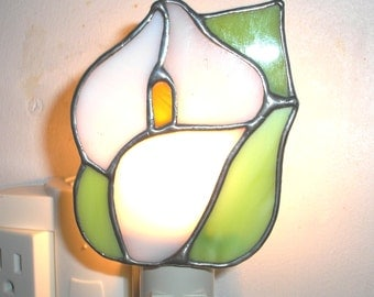 LT Stained glass Calla Lily night light lamp made with white opal glass and lime green glass