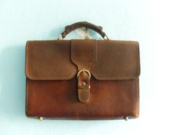 Vintage Leather Briefcase Handbag Purse Messneger Accessory  Dark Brown 80s 1980s