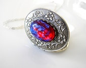 Statement Jewelry Dragons Breath Opal Jewelry Silver Locket Fire Opal Gift For Her Victorian Jewelry Wiccan Jewelry Gothic Keepsake Locket