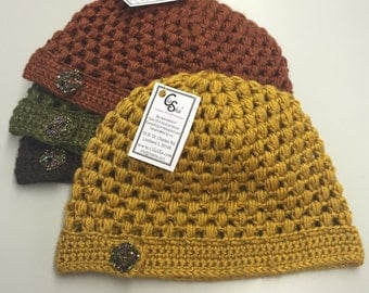 Crochet Beanie Hat with Button