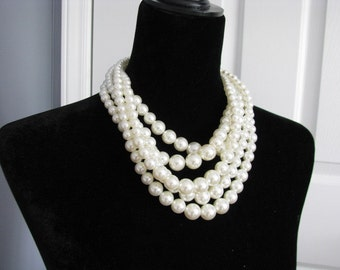 Statement Wedding Necklace in  silver tone and Ivory cream Faux Pearl Great Bridal Wedding Jewelry Pageant Jewelry
