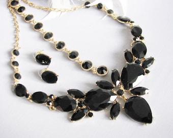 Black Wedding Backdrop Necklace Bridal Necklace - Bridal Jewelry - Wedding Necklace -  Bridal Necklace