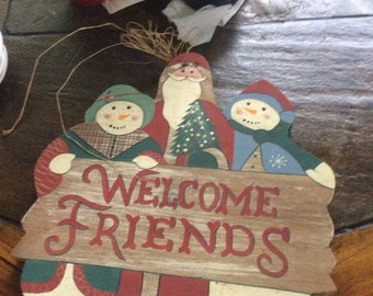 Summer Sale Vintage wooden Xmas sign Welcome Friends