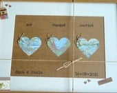 Love Map Hearts - Personalised Wedding Keepsake - Framed Love Heart  - Map of Love 2 - Handmade in Ireland
