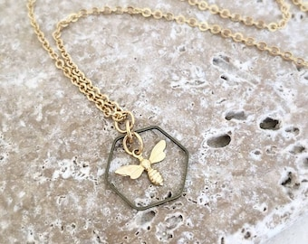 Bee and Honeycomb Charm Necklace