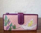 Excellent FOSSIL Multi Color Floral Bird Checkbook Wallet