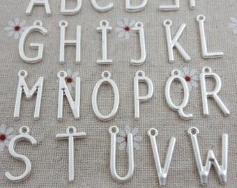 Matte silver-New design sale-130 pcs-5 whole sets-anti tarnish alphabet charms-T1007
