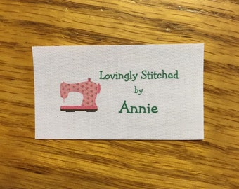 Sewing label/tags 40 precut IRON ON cotton, washable,  colorfast, custom tags/labels with sewing machine graphic to add a personal touch!