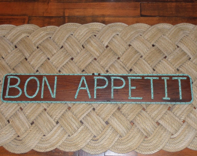 BON APPETIT Wooden Sign With Rope Letters Kitchen Decor Nautical Decor Boaters Beach  Lakes Oceans Bays