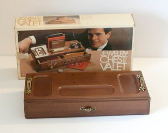 Vintage wooden jewelry box men's valet chest London Leather new in box