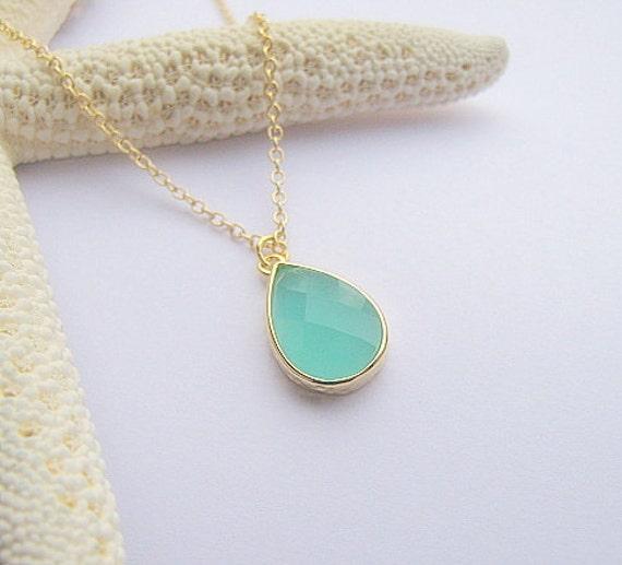 mint green pendant necklace mint teardrop necklace mint