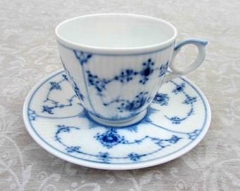 Royal Copenhagen Blue Fluted Plain Cup & Saucer  #298  - 1960s