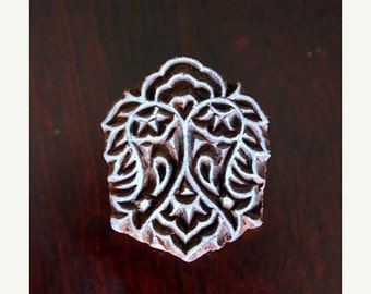 THANKSGIVING SALE Hand Carved Indian Wood Textile Stamp Block- Floral Motif (ON Sale)