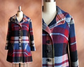 vintage 1970's navy & burgundy wool plaid swing coat with hood / size xs