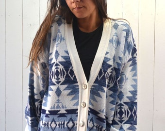 Navajo Cardigan Sweater 1980s Slouchy Blue White Southwest Vintage Button Up Knit Sweater Medium Large