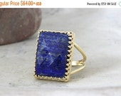 SUMMER SALE - Lapis ring,September birthstone ring,gold ring,gemstone ring,navy blue ring,bridal ring,rectangle ring,stone ring,lo