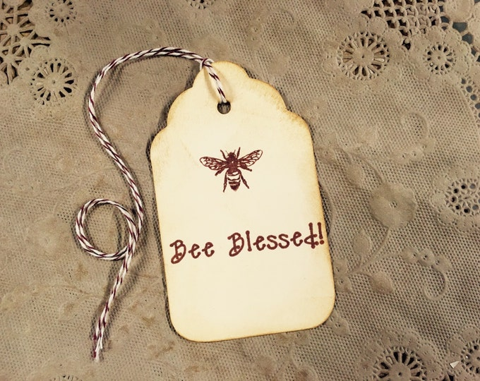 Bee Blessed Sepia Gift Tags, Honey Bee, Wine Charms, Wedding Favor Tags, Vintage Look, Aged, Wish Tree Cards, Bridal Shower Tags, 6 Tags