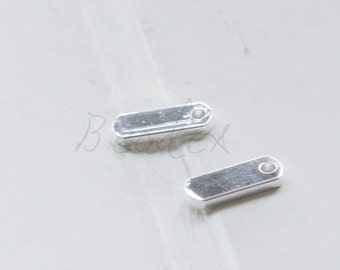 2 Pieces / Real Silver Plated / Brass Tags / Rectangle / Charm / 13x5x1.5mm (C1799//K506)