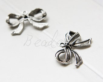 10 Pieces / Bow / Oxidized Silver Tone / Charms / 29x19mm (Y13558//D297)