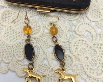 Dog Earrings Vintage Earrings Vintage Assemblage Earrings