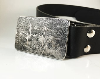 EKG Heartbeat Belt Buckle - Etched Stainless Steel - Handmade