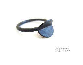 Minimalist Oxidized Silver Ring - Modern Circle Black Silver Ring - Every Day Silver Ring - Contemporary Jewelry Handmade