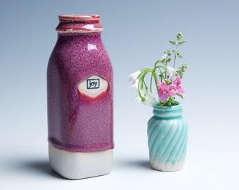 """Ceramic Porcelain Vase / Milk Bottle / Small / Raspberry """"Joy"""""""
