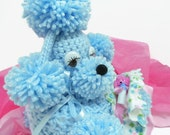 RESERVED FOR ANGEL: Baby Blues Crochet Toilet Tissue Cozy, Kitsch Fifties Style Toilet Paper Poodle Cozy, Sleepy New Parent Gift, Pom Pom