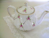 Vintage Sadler Teapot Made In England  - Pink Roses - Individual Teapot