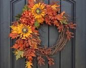 Fall Wreath-Autumn Wreath Orange Berry- Wispy Twig-Holiday Wreath-Grapevine Door Decor-Fall Decor-Orange Hydrangea-Fall Leaves-Sunflowers