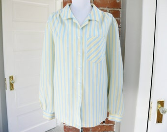 Vintage 80s Yellow Light Blue Striped Blouse XXL Plus Size Long Sleeve