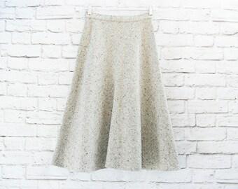 Vintage 70s Tweed Wool Skirt XS Fluted Flared Knee Length Brown Beige Flecked High Waist