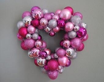"VALENTINE'S DAY HEART Wreath  Magenta Pink Silver  Ornament Wreath Smaller 11"" Wreath"