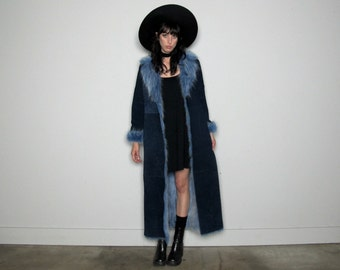 FAUX FUR Lined Blue Leather Maxi Coat 90s Vintage Womens Winter Heavy Coat Size M/L Long