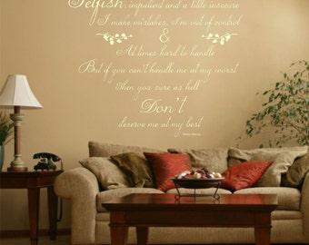 Marilyn Monroe Quote, Vinyl Wall Art Sticker Decal, Lounge, Bedroom, 80cm wide x 72cm high