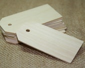 """10 - 30 Wooden Gift or Label Tags 3 1/4"""" long   by 1 5/8"""" wide Wedding Name Tags"""