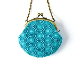 Metal frame coin purse with Chain // Aqua Blue Circle Lace