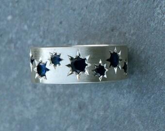 Silver Saphir chunky ring - star ring, blue sapphire ring, blue sapphire stones, sapphire stars