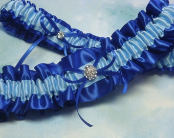 Royal Blue and Blue  Satin Garter Set