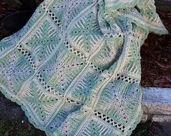 Green and Cream Granny Square Afghan